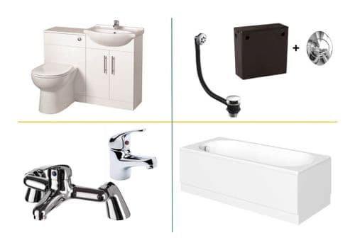 1050mm Gloss White Furniture Pack With 1700mm Bath & Matching Taps & Wastes