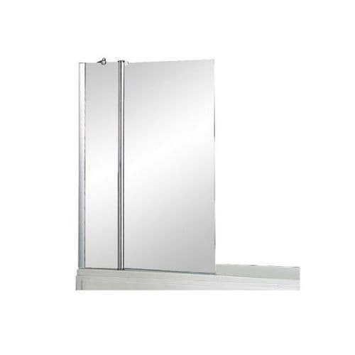Abacus Essentials Square Double Panel Bath Screen - 940mm Wide - Chrome - 6mm Clear Glass