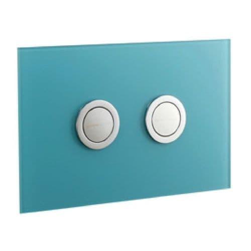 Abacus Lustrolite Press Panel Glass Effect Dual Flush Plate - Blue Atoll