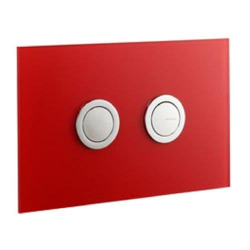 Abacus Lustrolite Press Panel Glass Effect Dual Flush Plate - Rouge