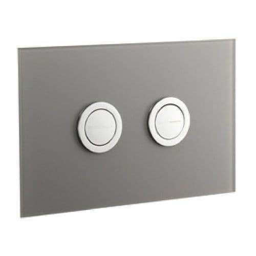 Abacus Lustrolite Press Panel Glass Effect Dual Flush Plate - Titan