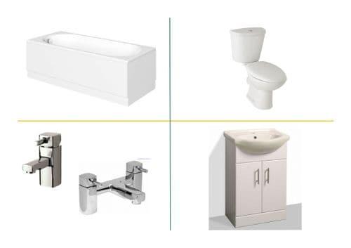 Complete Bathroom Suite Inc Bath, Basin Unit, Toilet & Seat - Various Sizes