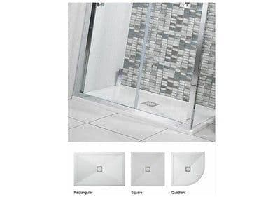 Elite 25mm Low Height Shower Tray  Stone Resin, Inc Waste - Various Sizes
