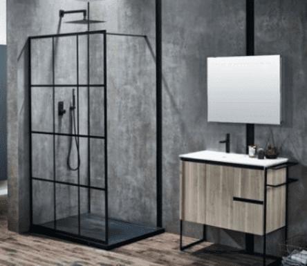 Frontline Aquaglass+ Velar 8mm Black Framed Walk-In Enclosure