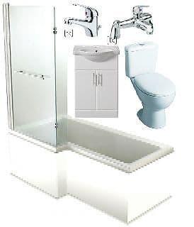 L Shaped Showerbath Suite Inc Basin Unit, Taps, Toilet & Seat