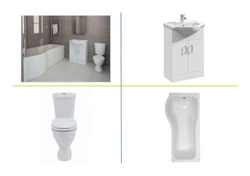 P Shaped Bath Suite Inc Vanity, Close Coupled Toilet & Taps - Various Sizes & Options