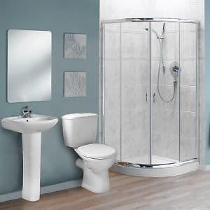 Shower Bathroom Suite Chrome Quadrant Enclosure Toilet Basin & Pedestal - Various Sizes
