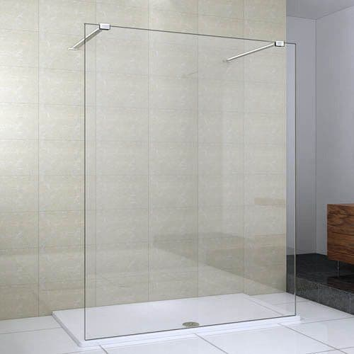 Valliant Type B Walk In Wetroom Glass Screen - Various Sizes, Inc Bracing Bars