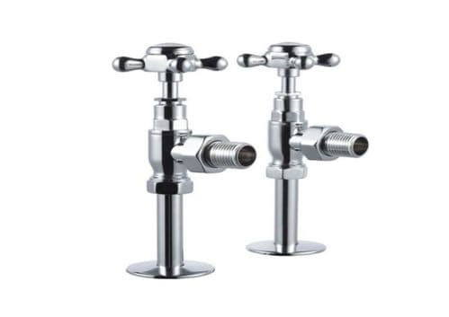 Burlington Traditional Radiator Valves, Pair, Straight or Angled, Chrome Plated