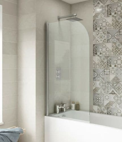 Ice Arched Hinged Plain Bath Screen 6mm