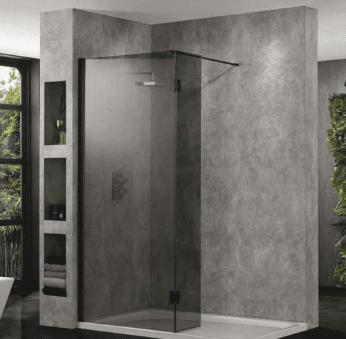 Showerco WT10 Wetroom Screen - Matt Black Profile - 10mm Glass