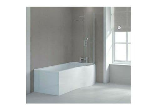 Sommer 1675mm P Shaped Shower Bath inc front panel & 6mm Curved Bath Screen