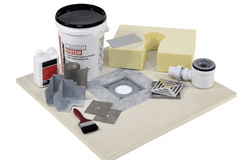 UNDERLAY Wetroom kits for tile floors with paint-on tanking and square drain