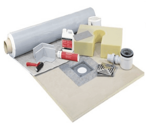 Underlay Wetroom kits for tile floors with sheet membrane tanking and square drain