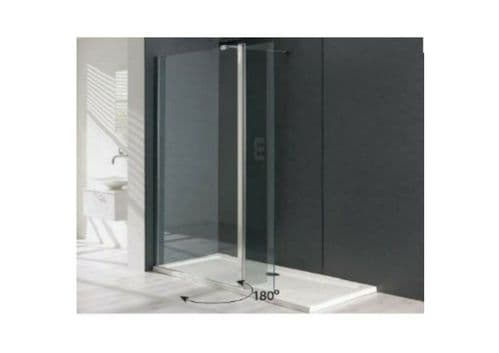 Valliant Type D Walk In Wetroom Screen with 300mm Flipper, 8mm, Various Sizes