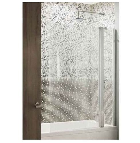 Volente 250mm Fixed 750mm Hinged Bath Screen, Clear Glass, Chrome Wall Profile