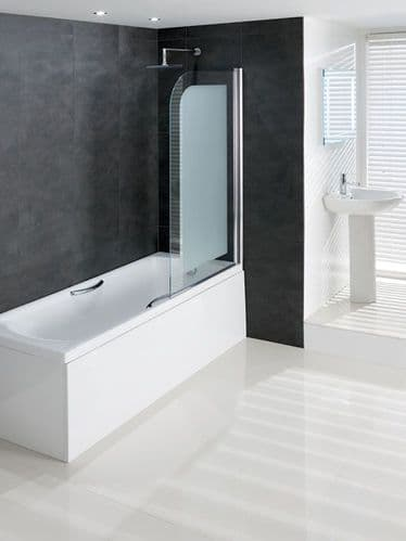 Volente Frosted Glass, 8mm Hinge Bath Screen 850x1500mm