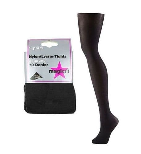 Black Twin Pack School Tights