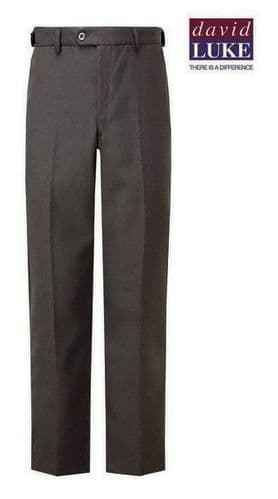 David Luke Grey Sturdy Fit Flat Front Trousers