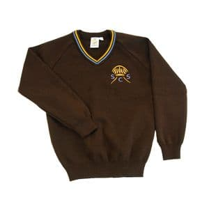 St Clare's Brown V-Neck Pullover