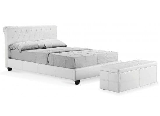 Agen White Faux Leather King Size Bed 2017 LD152