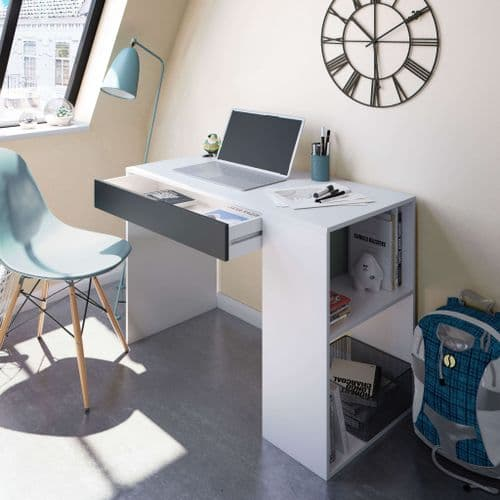 Alberto Grey and White Desk with Drawer and Shelves - 0Z2313A