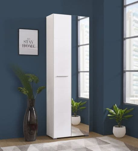 Almira White Gloss Slim Narrow Shallow Depth Wardrobe for Small Spaces