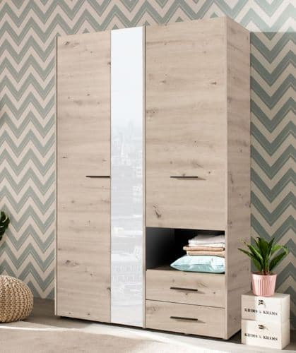 Althena 3 Door Grey Oak Wardrobe With Drawers And Mirror