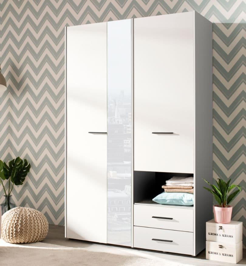 Althena 3 Door White Wardrobe With Drawers And Mirror