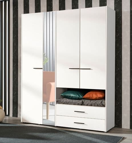 Althena 4 Door White Wardrobe With An Open Shelf And Drawers