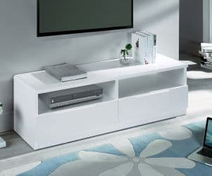 Alzira White High Gloss 2 Drawer Media Unit 18JB299
