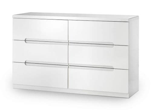 Alzira White High Gloss Lacquer 6 Drawer Wide Chest JB312