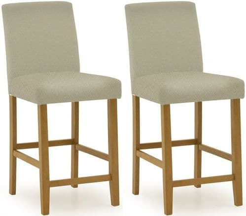 Anagni Traditional Cream PU Leather Bar Chair (Pair) 218VD420