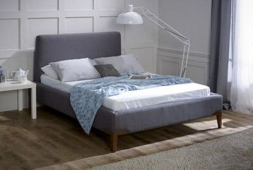 Andromeda 5ft King Size Silver Chenille Fabric Bed - LLB