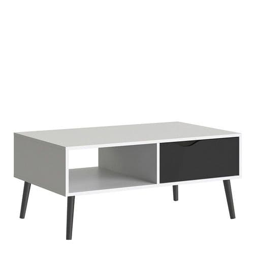 Anslo White & Black Matt 1 Drawer, 1 Shelf Coffee Table FG7047538449GM