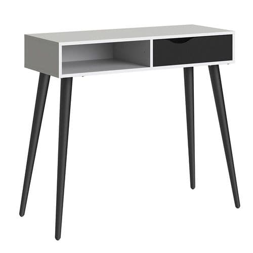 Anslo White & Black Matt 1 Drawer, 1 Shelf Console Table FG7047538849GM