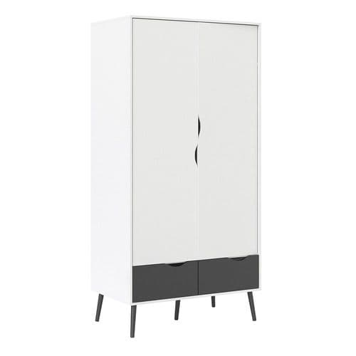 Anslo White & Black Matt 2 Door, 2 Drawer Wardrobe FG7047539649GM