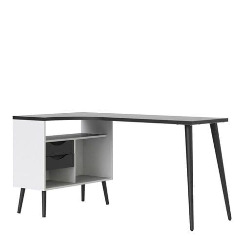 Anslo White & Black Matt 2 Drawer Desk FB7047545049GM
