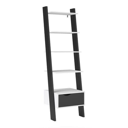 Anslo White & Black Matt Leaning Bookcase with 1 Drawer FG7047538549GM