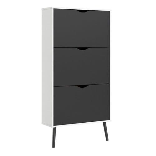 Anslo White & Matt Black 3 Drawer Shoe Cabinet FG7044107449GM