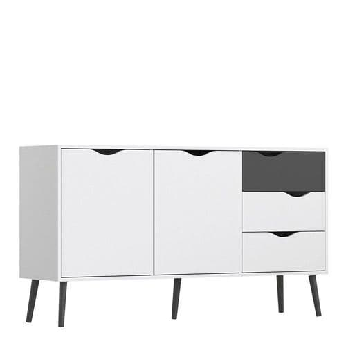 Anslo White & Matt Black Large 3 Drawer, 2 Door Sideboard FG7047538149GM