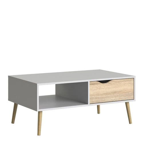 Anslo White & Oak 1 Drawer, 1 Shelf Coffee Table FG7047538449AK
