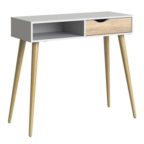 Anslo White & Oak 1 Drawer, 1 Shelf Console Table FG7047538849AK