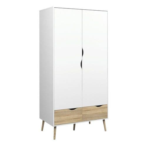 Anslo White & Oak 2 Door, 2 Drawer Wardrobe FG7047539649AK