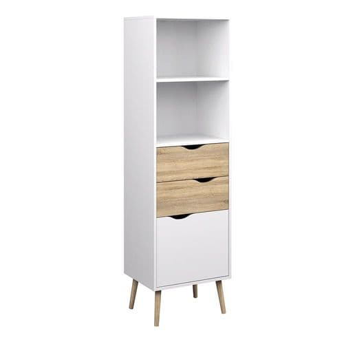 Anslo White & Oak 2 Drawer, 1 Door Bookcase FG7047538249AK