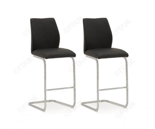 Aquileia Black Faux Leather With Chrome Cantilever Design Bar Stool (Pair) 218VD375