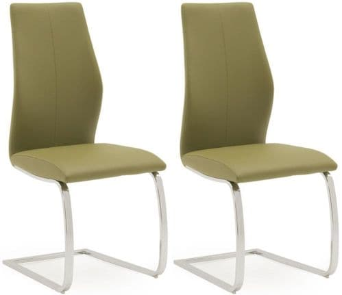 Aquileia Olive Faux Leather With Chrome Cantilever Design Dining Chair (Pair) 218VD384