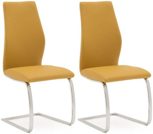 Aquileia Pumpkin Faux Leather With Chrome Cantilever Design Dining Chair (Pair) 218VD385