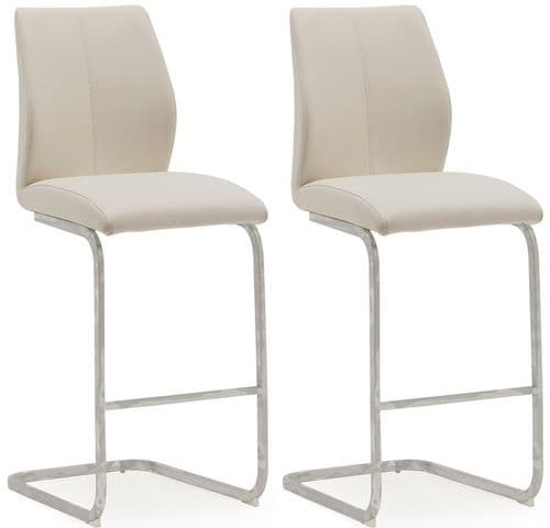 Aquileia Taupe Faux Leather With Chrome Cantilever Design Bar Stool (Pair) 218VD379