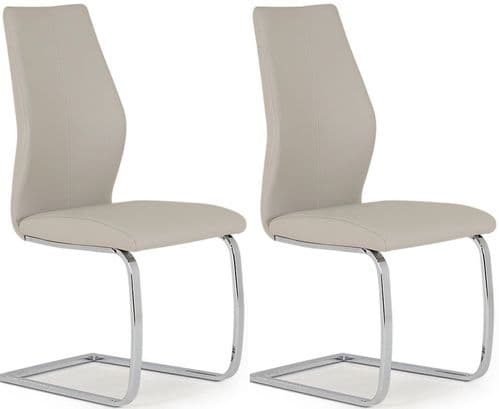 Aquileia Taupe Faux Leather With Chrome Cantilever Design Dining Chair (Pair) 218VD386